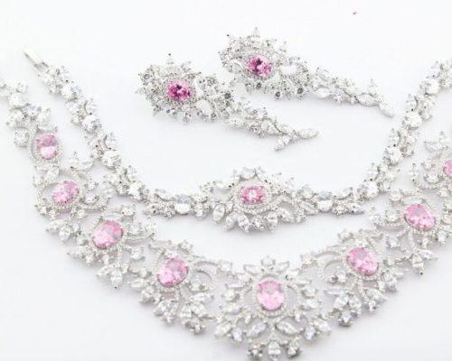 Set Silver Pink Topaz