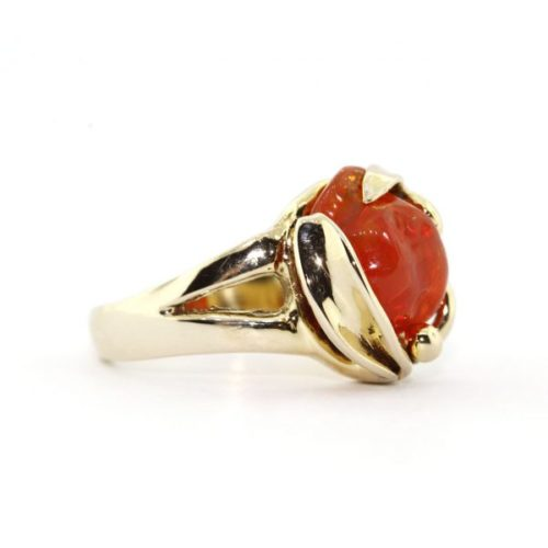 Orange Opal Gold Ring