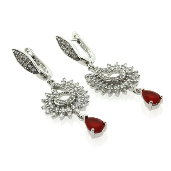 Garnet Silver Earrings