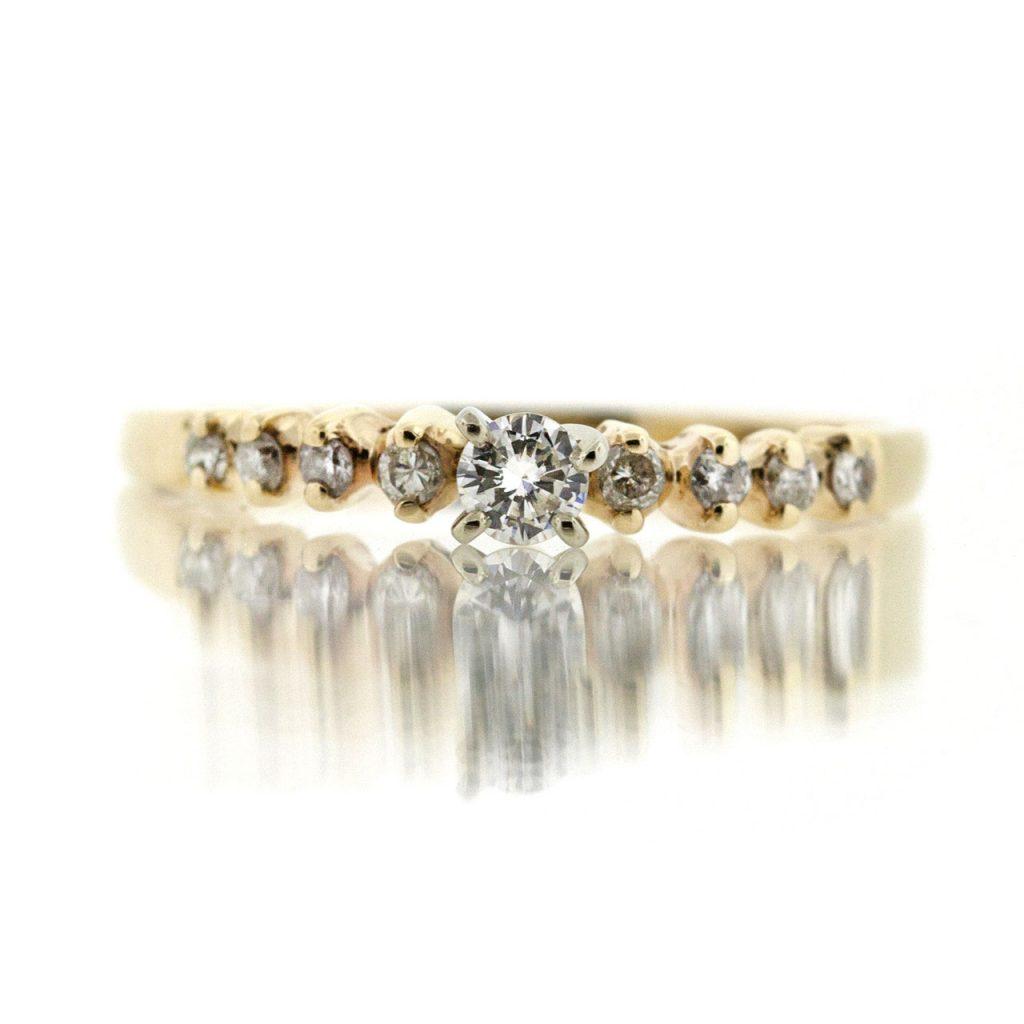14k Gold Ring with White Diamond.