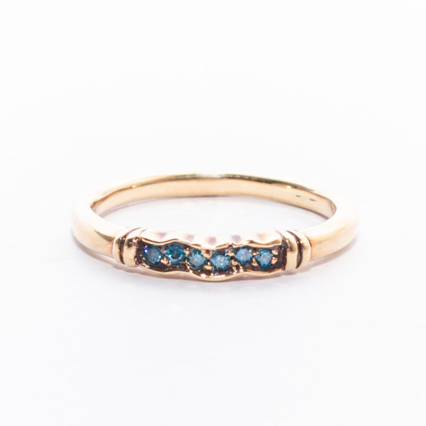 Blue Diamond Gold Ring