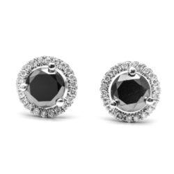 14K WHITE GOLD EARRINGS WITH WHITE DIA BLACK DIA DIAMOND(S)