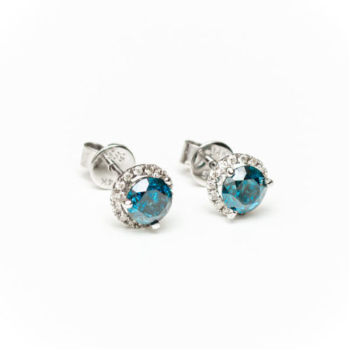 14K WHITE GOLD EARRINGS WITH BLUE DIA WHITE DIA DIAMOND(S)