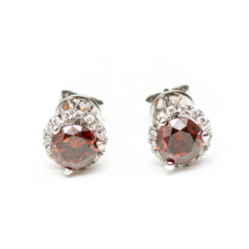 14K WHITE GOLD EARRINGS WITH RED DIA WHITE DIA DIAMOND(S)