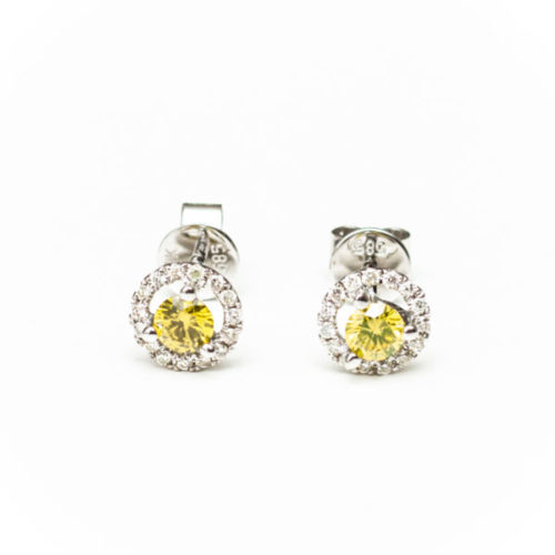 14K WHITE GOLD EARRINGS WITH YELLOW DIA WHITE DIA DIAMOND(S)