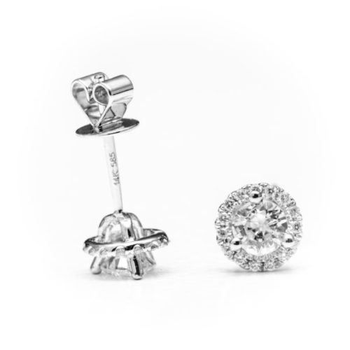 14K WHITE GOLD EARRINGS WITH WHITE DIAMOND(S)