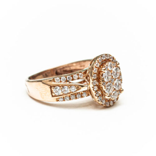 14K ROSE GOLD RING WITH WHITE DIAMOND