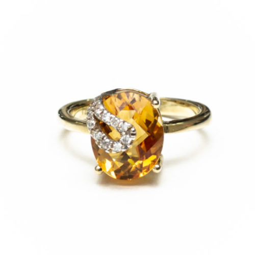 14K GOLD EARRINGS WITH CITRINE AND DIAMOND(S)