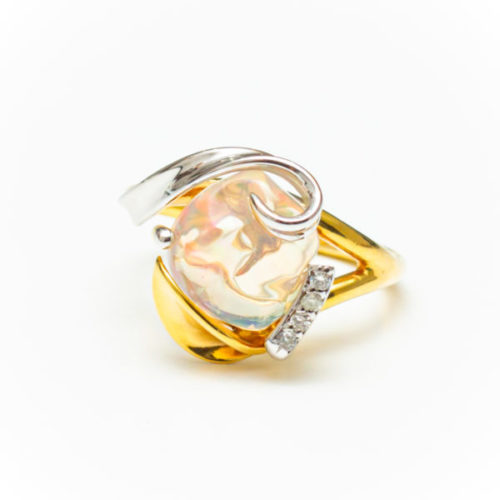 OPAL 14K YELLOW AND WHITE GOLD RING WITH WHITE DIAMOND