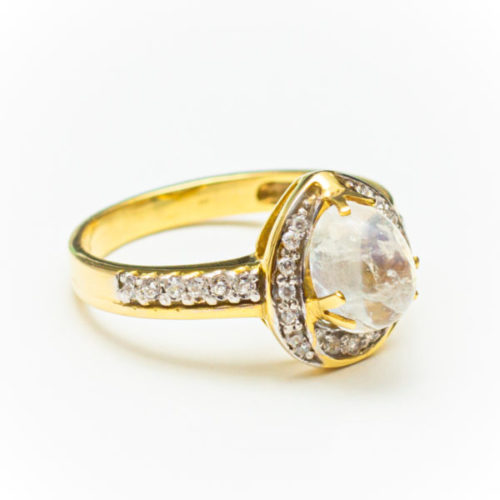 OPAL zirconias 14K YELLOW GOLD RING WITH  DIAMOND