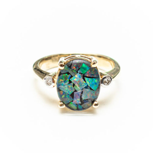 OPAL 14K YELLOW GOLD RING WITH WHITE DIAMOND