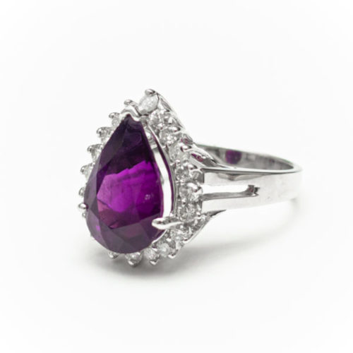 AMETHYST 14K WHITE GOLD RING WITH WHITE DIAMOND