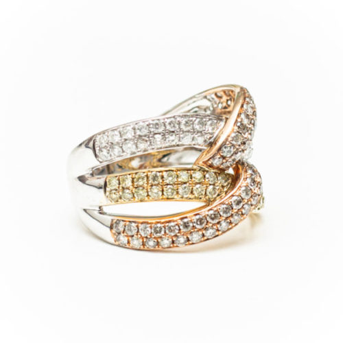 14K YELLOW, BLACK AND PINK GOLD RING WITH WHITE DIAMOND