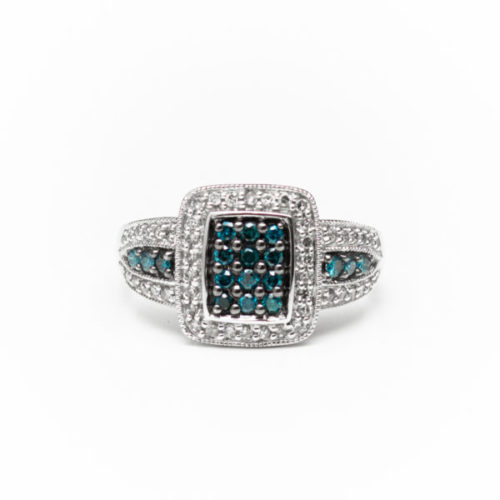 14K WHITE GOLD RING BLUE DIAMOND