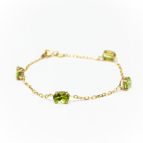 PERIDOT 18K YELLOW GOLD BRACELET WITH  DIAMOND