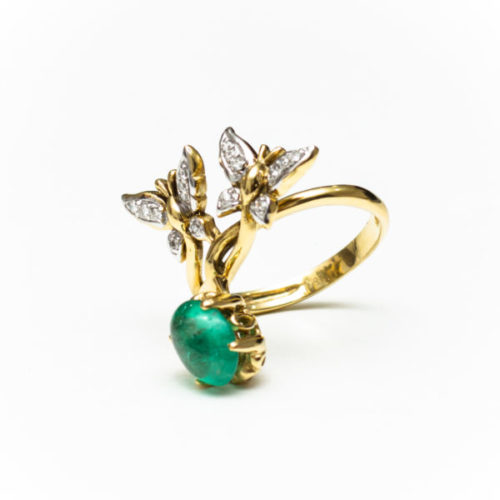 JADE 18K YELLOW GOLD RING WITH WHITE DIAMOND
